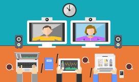 Videokonferenzillustration Videoanruf Lizenzfreies Stockfoto