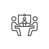 Videokonferenzlinie Ikone, Entwurfsvektorzeichen, lineares Artpiktogramm lokalisiert auf Weiß Symbol, Logoillustration Editable s vektor abbildung