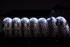Videomappaing installation Mutis av Tigrelab projekterade på det historisk byggnadTyrs huset - festen för signalljus, Prague, 201 Fotografering för Bildbyråer