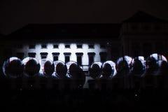 Videomappaingsinstallatie Mutis door Tigrelab bij het historische de bouwtyrs huis wordt ontworpen - signaleer licht fest, Praag, Royalty-vrije Stock Fotografie