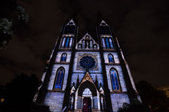 Videomapping Point Line Surface Solid by Daniel Rossa at Saint Ludmila churs at the Prague Signal light festival 2016 Stock Photography