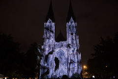 Videomapping Point Line Surface Solid by Daniel Rossa at Saint Ludmila churs at the Prague Signal light festival 2016 Stock Photo