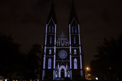 Videomapping Point Line Surface Solid by Daniel Rossa at Saint Ludmila churs at the Prague Signal light festival 2016 Stock Images