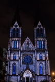 Videomapping Point Line Surface Solid by Daniel Rossa at Saint Ludmila churs at the Prague Signal light festival 2016 Stock Image