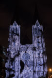 Videomapping Point Line Surface Solid by Daniel Rossa at Saint Ludmila churs at the Prague Signal light festival 2016 Royalty Free Stock Photo