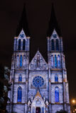 Videomapping Point Line Surface Solid by Daniel Rossa at Saint Ludmila churs at the Prague Signal light festival 2016 Stock Photos