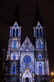 Videomapping Point Line Surface Solid by Daniel Rossa at Saint Ludmila churs at the Prague Signal light festival 2016 Royalty Free Stock Photography