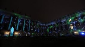 Videomapping projections projected at the Humbold university building in Berlin during the 12th Festival of Lights, Germany. BERLIN, GERMANY - OCTOBER 12, 2016 stock video footage