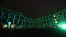 Videomapping projections projected at the Humbold university building in Berlin during the 12th Festival of Lights, Germany. BERLIN, GERMANY - OCTOBER 12, 2016 stock footage