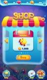 Videonetzspiele des süßen Weltmobilen GUI-Shopschirmes Lizenzfreie Stockfotografie