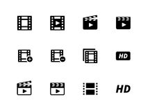 Videopictogrammen op witte achtergrond. Royalty-vrije Stock Afbeelding