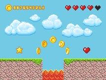 Videopixelspiellandschaft mit Goldmünzen, weiße Wolken und rote Herzen vector Illustration Lizenzfreie Stockfotografie