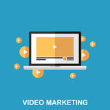 Videopn begrepp för marknadsföringslägenhetdesign Arkivbilder