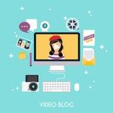 Videopn blogging begrepp Blogging infographics för mall Blogg Royaltyfria Foton