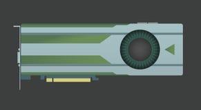 Videopn grafiskt kort VGA datordel också vektor för coreldrawillustration royaltyfri illustrationer