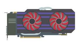 Videopn grafiskt kort VGA datordel också vektor för coreldrawillustration vektor illustrationer