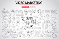 Videopn marknadsföringsbegrepp med klotterdesignstil: stock illustrationer