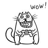 Videopp gamerkattlekar på konsolen Isolerad vektorillustration royaltyfri illustrationer