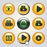Videopp massmediasymboler - knappar som spelar videoen, film Arkivbild