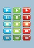 Videopp och modiga knappar för ungar spelar i tre färger vektor illustrationer