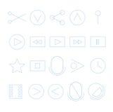 Videopp strömmande översiktssymboler Arkivbild