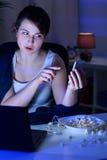 Videopraatje op de telefoon Stock Foto