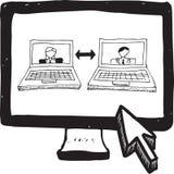 Videopraatjekrabbel op het computerscherm Stock Foto's