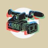 Videoproductie RGB Gelaagd Ontwerp met Geïsoleerde Videocameratekeningen Stock Fotografie
