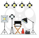 Videoproduction studio concept. Film directors chair with megaphone, projector, camera and clapboard and softbox. Work on the set of the film. Flat vector Stock Image