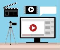Videoproduktion Herausgeber-Desk Workplace Web-Fahnen-flache Vektor-Illustration Stockbilder