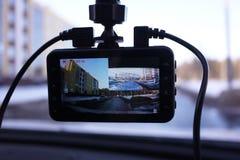 Videorecorder om de verkeerssituatie te registreren terwijl het drijven van uw auto Het kan zowel in auto's als vrachtwagens word royalty-vrije stock afbeelding