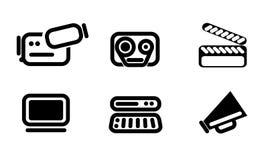 Videoredacteur en convertor geplaatste pictogrammen Royalty-vrije Stock Afbeeldingen