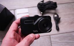 Videoregistratore per registrare la situazione di traffico mentre conducendo la vostra automobile Pu? essere utilizzato sia in au immagini stock