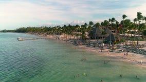 Videoripresa aerea della spiaggia tropicale caraibica con le palme e la sabbia bianca Viaggio e vacanza in Punta Cana, dominicano archivi video