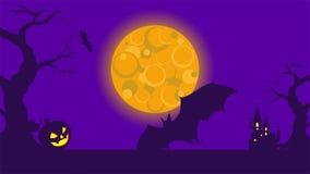Videoripresa HD nello stile del fumetto del partito di festa di Halloween di tema Pipistrelli di volo a fondo che spaventa paesag illustrazione di stock