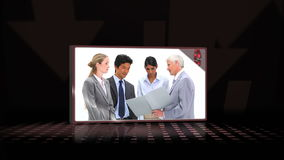 Videos of business people against a black background Royalty Free Stock Photo