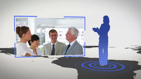 Videos of business people next to a map with Earth image courtesy of Nasa.org Stock Photos