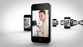 Videos of business people on the phone. Animation with videos of business people on the phone stock video footage