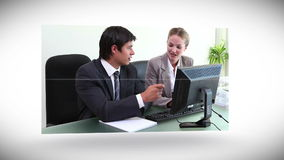 Videos of business people working at a desk Royalty Free Stock Photography