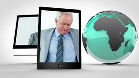 Videos of businessman having pain at work with Earth image courtesy of Nasa.org stock footage