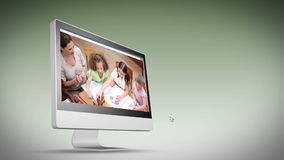 Videos of a classroom on a computer screen Royalty Free Stock Photo