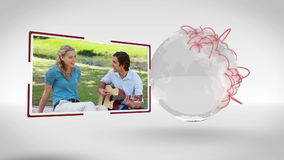 Videos of couple outdoors with an Earth image courtesy of Nasa.org stock footage