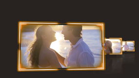 Videos of couple under the sunset against a black background Stock Photography