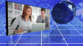 Videos of a multinational enterprise with an earth image courtesy of nasa.org stock footage