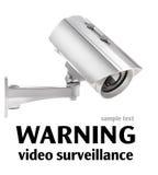 Videosorveglianza isolata su bianco (con i percorsi di ritaglio) Fotografia Stock Libera da Diritti