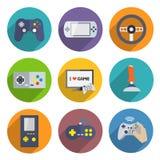 Videospelkontrollant Icons Set Fotografering för Bildbyråer
