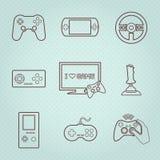Videospelkontrollant Icons Set Royaltyfri Foto