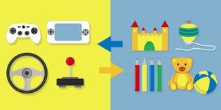Videospelletje tegenover ander speelgoed vector illustratie