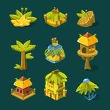 Videospelletje Tropisch Forest Design Collection Of Elements Royalty-vrije Stock Foto