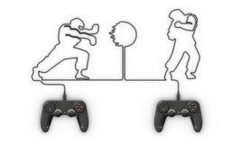 Videospelletjecontrolemechanisme die met kabel vechter vormen vector illustratie